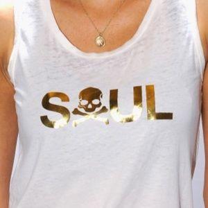 Soul Cycle White Tank with Gold Soul sizeXS